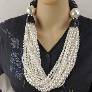 Chico's Faux Pearl Necklace Statement Piece